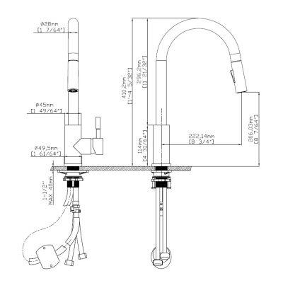 ברז מטבח שניידר נירוסטה נשלף דגם SCH-1001