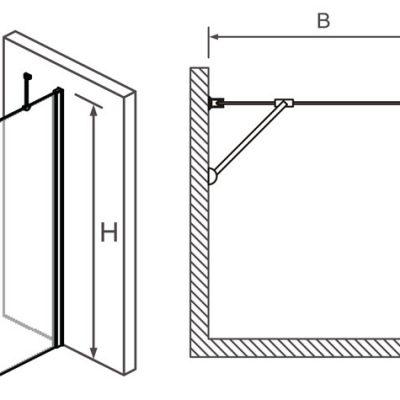 """מקלחון חזית דופן קבועה 69-91 ס""""מ"""