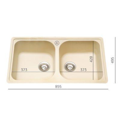 """כיור מטבח כפול דגם ליטוס 200-N מתאים לארון 85 ס""""מ"""