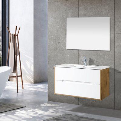 ארון אמבטיה עומד/ תלוי TOSCANA גוף אפוקסי לבן